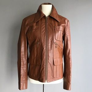 Vintage • tan leather jacket